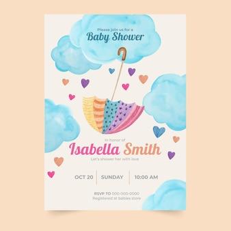 Modèle d'invitation de douche de bébé aquarelle chuva de amor