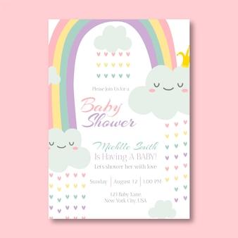 Modèle d'invitation de douche de bébé chuva de amor dessiné