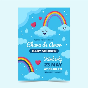 Modèle d'invitation de douche de bébé chuva de amor