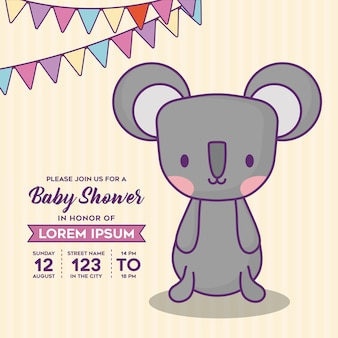 Modèle d'invitation de douche de bébé avec des fanions décoratifs et koala mignon sur fond jaune, colo