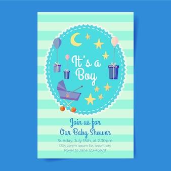 Modèle d'invitation de douche de bébé garçon