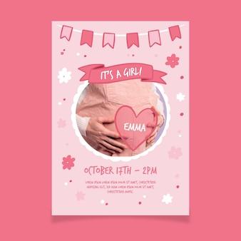 Modèle d'invitation de douche de bébé avec photo pour fille