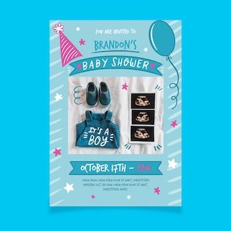 Modèle d'invitation de douche de bébé avec photo pour garçon