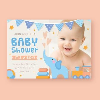 Modèle d'invitation de douche de bébé avec photo