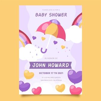Modèle d'invitation de douche de bébé plat bio chuva de amor
