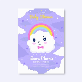 Modèle d'invitation de douche de bébé plat chuva de amor