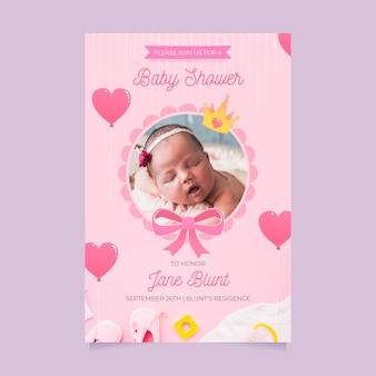 Modèle d'invitation de douche de bébé pour le concept de fille