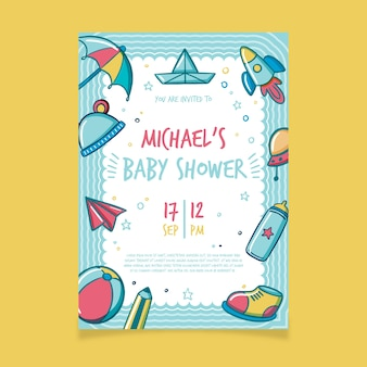 Modèle d'invitation de douche de bébé pour garçon