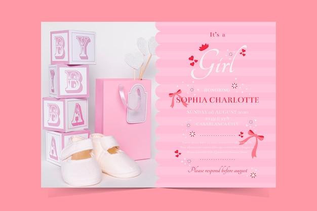 Modèle d'invitation de douche de bébé pour le thème de la fille