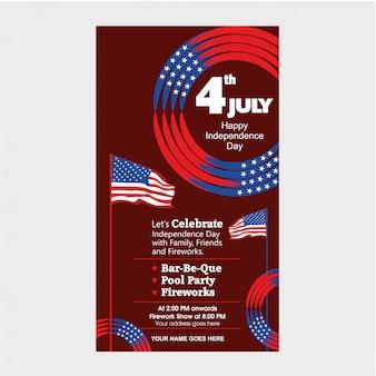 Modèle d'invitation du jour de l'indépendance des états-unis du 4 juillet avec spectacle aérien, défilé de vélos et attraction de feux d'artifice.