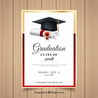 Modèle d'invitation élégant de graduation avec un design réaliste