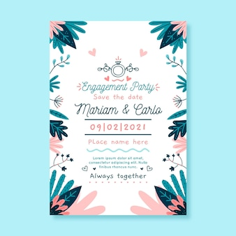 Modèle d'invitation d'engagement floral