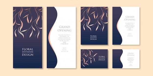 Modèle d'invitation d'entreprise élégant thème floral art sombre avec trois variations