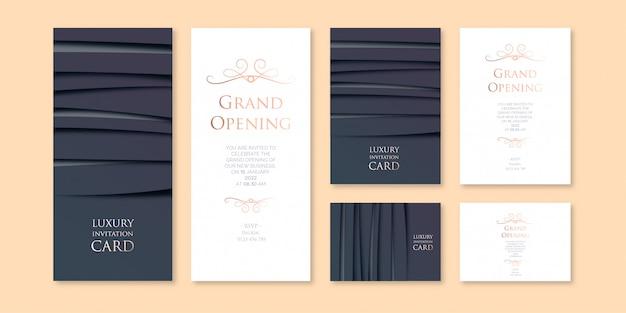 Modèle d'invitation d'entreprise de thème de couleur sombre art en couches de luxe avec trois variations