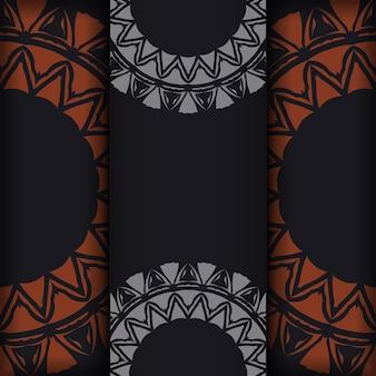 Modèle d'invitation avec un espace pour votre texte et vos motifs abstraits. conception vectorielle luxueuse de carte postale de couleur noire avec des motifs orange.
