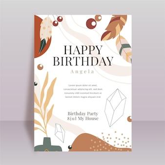 Modèle d'invitation de fête d'anniversaire boho