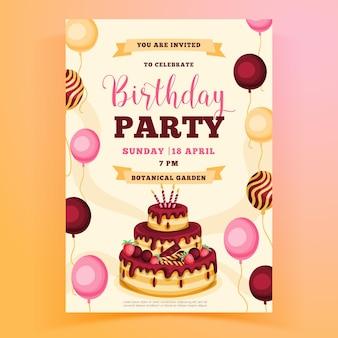 Modèle D'invitation De Fête D'anniversaire Avec Gâteau Vecteur Premium