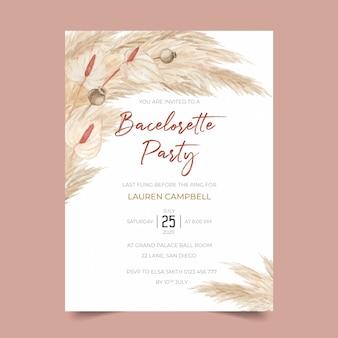 Modèle d'invitation à une fête de bachelorette avec pampas grass et calla lily