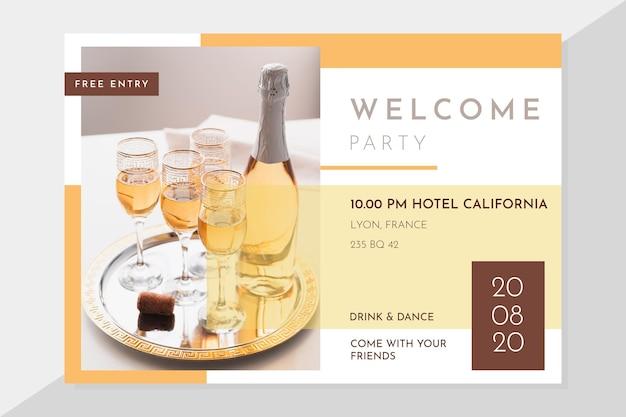 Modèle d'invitation de fête élégante avec photo