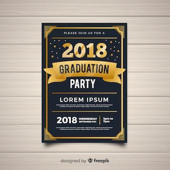 Modèle d'invitation à la fête de graduation sombre et dorée