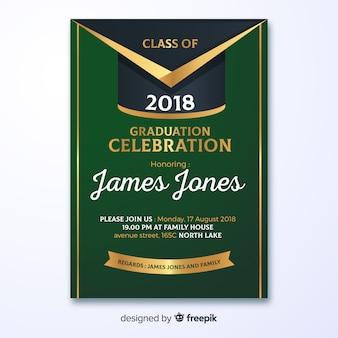 Modèle d'invitation fête de graduation verte