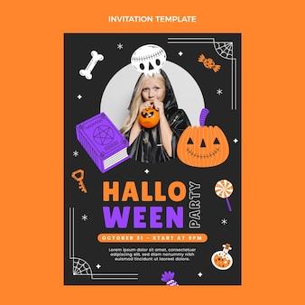 Modèle d'invitation de fête d'halloween plat dessiné à la main