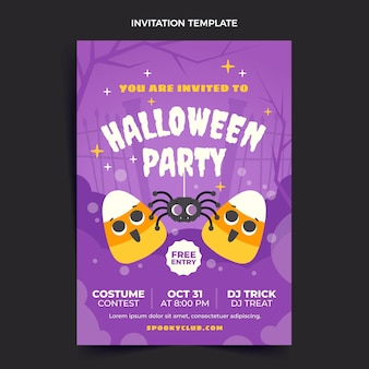 Modèle d'invitation de fête d'halloween plat