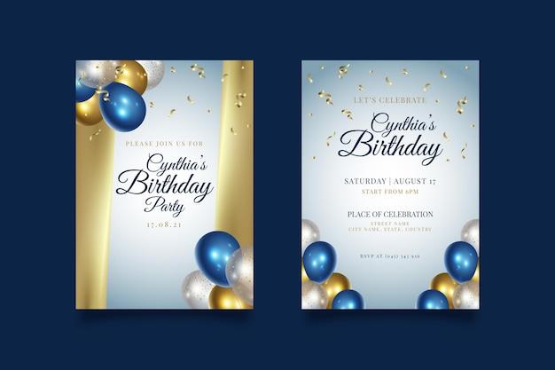 Modèle d'invitation de fête de joyeux anniversaire