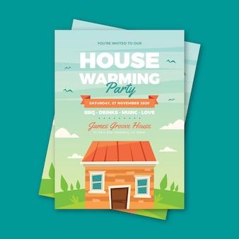 Modèle d'invitation à une fête avec maison