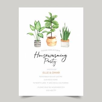 Modèle d'invitation de fête de pendaison de crémaillère avec illustration de plante d'intérieur aquarelle