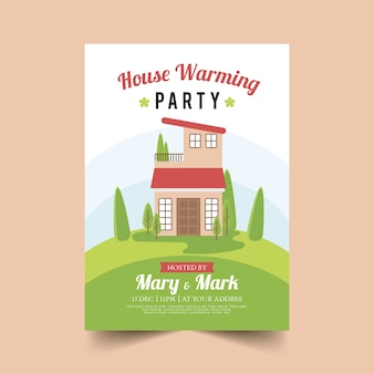 Modèle d'invitation de fête de pendaison de crémaillère avec maison illustrée
