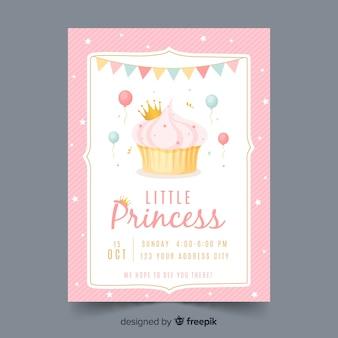 Modèle d'invitation de fête princesse dessiné à la main
