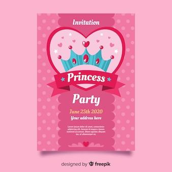 Modèle d'invitation fête princesse rose