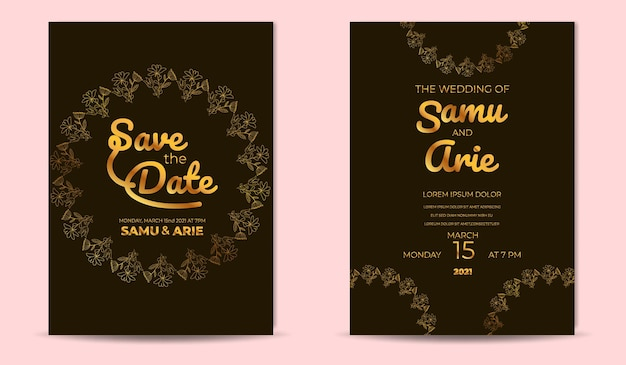 Modèle d'invitation de fiançailles élégant de luxe avec ligne de fleurs