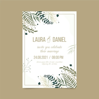 Modèle d'invitation de fiançailles avec des éléments élégants