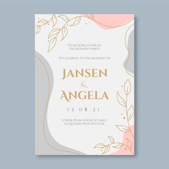 Modèle d'invitation de fiançailles avec des ornements élégants