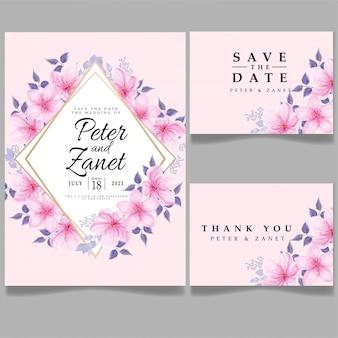 Modèle d'invitation floral de fleur d'invitation de mariage d'aquarelle de beauté rose