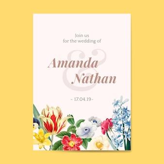 Modèle d'invitation floral