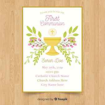 Modèle d'invitation florale première communion