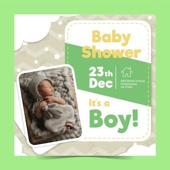 Modèle d'invitation de garçon de douche de bébé avec image