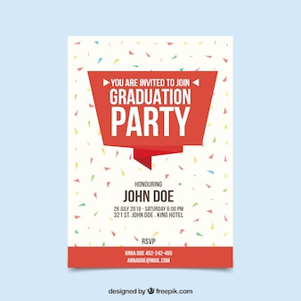 Modèle d'invitation de graduation colorée avec design plat