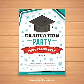 Modèle d'invitation de graduation dans le style plat