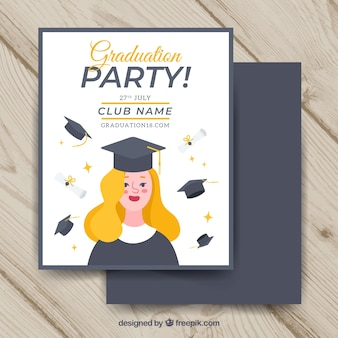Modèle d'invitation de graduation avec design plat