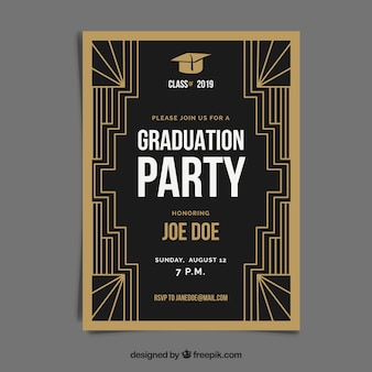 Modèle d'invitation de graduation avec style doré