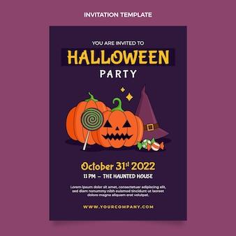 Modèle d'invitation halloween dessiné à la main