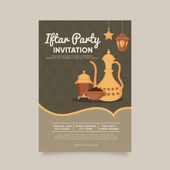 Modèle d'invitation iftar design plat créatif