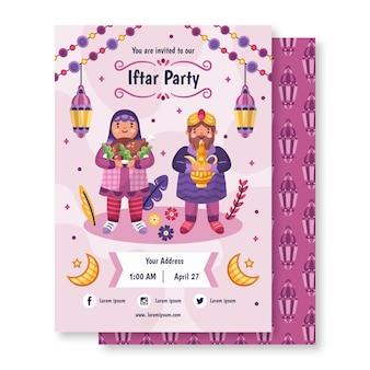 Modèle d'invitation iftar dessiné à la main