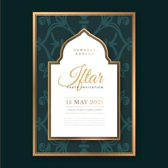 Modèle d'invitation iftar vertical dessiné à la main