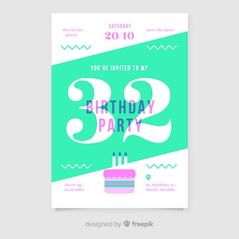 Modèle d'invitation de joyeux anniversaire dans un style plat