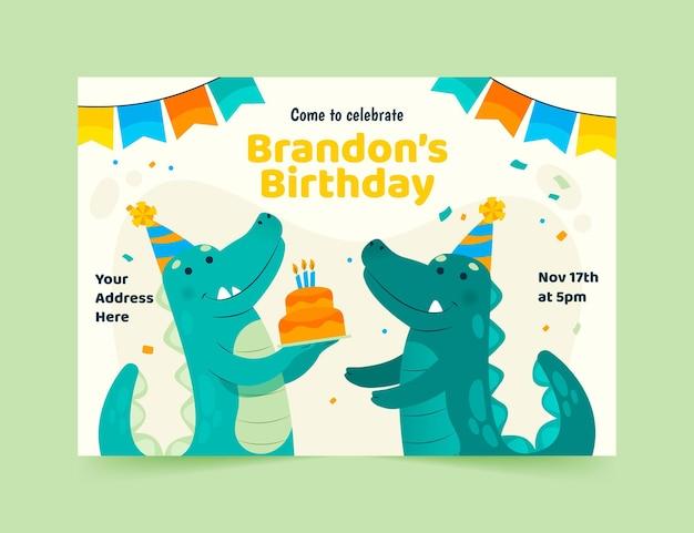 Modèle d'invitation de joyeux anniversaire avec dinosaure